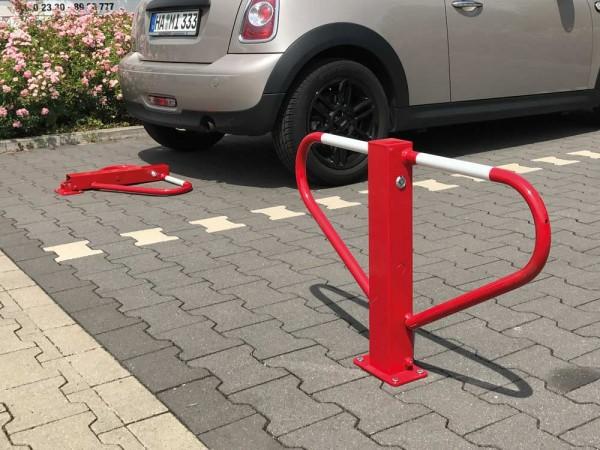 Parkplatzsperre, umlegbar mit 8 mm Dreikantverschluss zum Einbetonieren