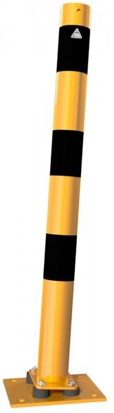 Absperrpfosten Stahlrohr allseitig neigbar (gelb/schwarz)
