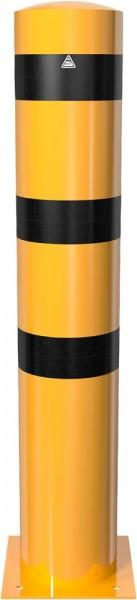 Stahlrohrpoller Ø 273 mm, zum Aufdübeln mit Bodenplatte (gelb/schwarz)