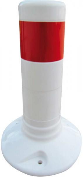 Flexipfosten weiß, mit rot reflektierenden Streifen