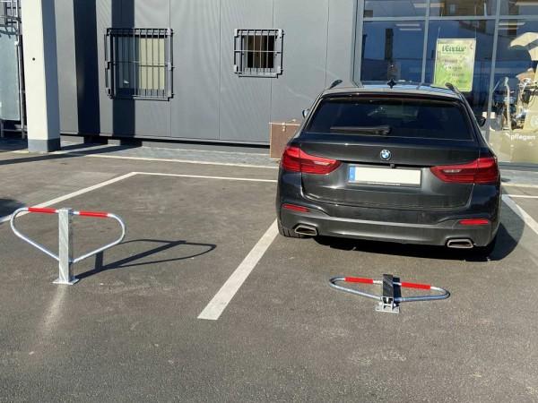 Parkplatzsperre, umlegbar mit Rundzylinder für Dübelbefestigung